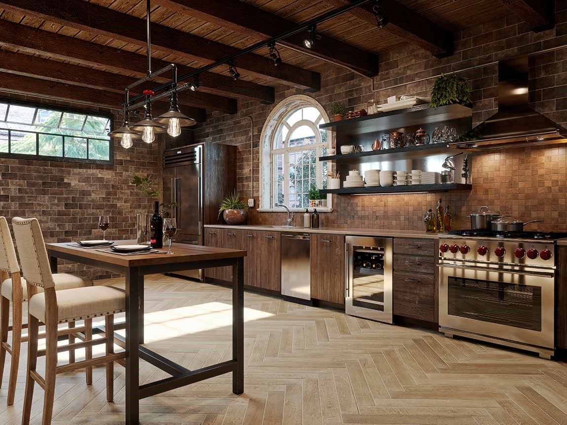 rustic style kitchen with patterned hardwood flooring